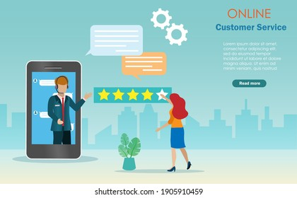 Customer evaluate online customer service with 5 stars rating on smartphone.  Landing pages for customer assistance, call center support and service.