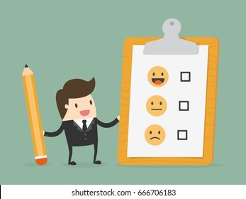 Customer Evaluation. Feedback Emoticons. Business Concept Illustration.