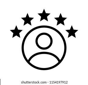 Customer experience or 5 star satisfaction rating line art vector icon for review apps and websites