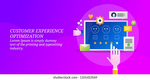 Customer experience optimization - User Rating - Customer satisfaction colorful vector banner with icons