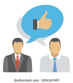 Customer feedback, business goodwill flat icon