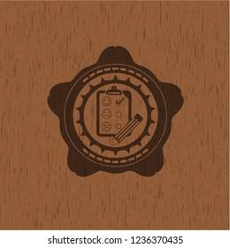 customer feedback icon inside vintage wood emblem