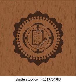 customer feedback icon inside wooden emblem. Retro