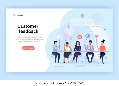 Customer feedback management, vector illustration, perfect for web design, banner, mobile app, landing page, flat design