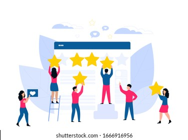 Customer feedback. Online review. Rating flat vector concept. Tiny people cling stars to the huge web page.