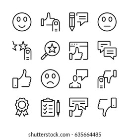 Customer feedback and testimonials line icons set. Modern graphic design concepts, simple outline elements collection. Vector line icons