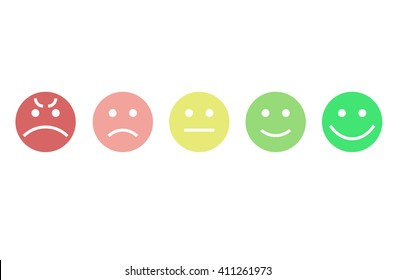 Customer feedback or user experience concept. Rank, level of satisfaction rating in form of emotions.