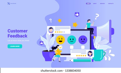 Customer feedback, user review, online survey, testimonials landing page concept. Flat vector illustration with tiny characters for web site, landing page, hero image, banner template.