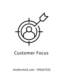 Customer Focus Vector Line Icon