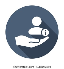 Customer icon with information sign. Customer icon and about, faq, help, hint symbol. Vector icon