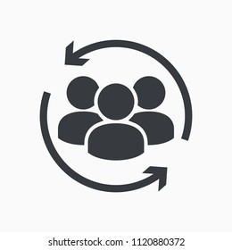 Customer icon. Customer Retention, Returning Clients Vector Glyph Icon. Human resource management. Return sign. Managed care. Customer relationship management. Employee Practice. CRM