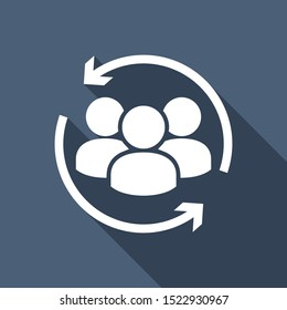 Customer icon. Customer Retention, Returning Clients Vector Glyph Icon, Solid Style. Return sign. Managed care. Customer relationship. Practice management