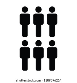 Customer icon vector male group of people  symbol avatar for business in flat color glyph pictogram illustration