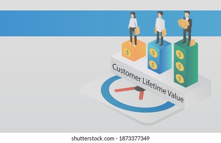 customer lifetime value (CLV),lifetime value (LTV),Value,frequency,time period of customer purchases product or services per business,Vector illustration.
