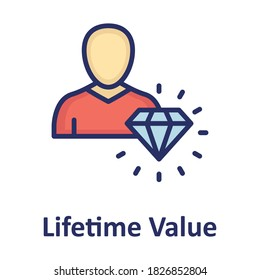 Customer lifetime value, investor Color Vector icon fully editable