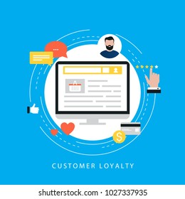 Customer loyality satisfaction, customer feedback and ratings flat vector illustration design. Loyality concept design for web banners and apps