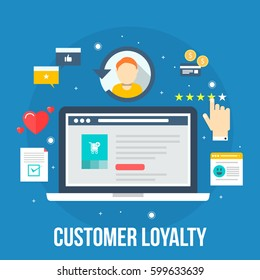 Customer loyalty marketing program, returning customer flat vector illustration with icons and elements