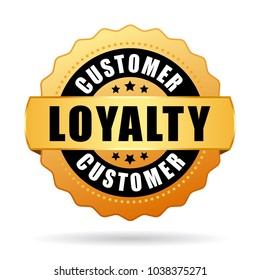 Customer loyalty program gold vector icon isolated on white background