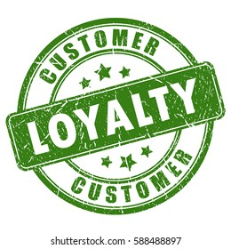 Customer loyalty rubber ink vector stamp on white background