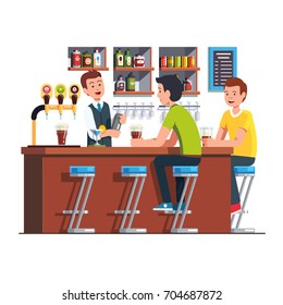 Customer man sitting at counter, drinking alcohol. Pub bartender serving client. Barman making cocktail using shaker. Bar with beer tap pump, stools, shelves, bottles. Flat cartoon vector illustration