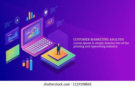 Customer marketing analysis, Data marketing, person analyzing data on laptop - 3D isometric conceptual banner