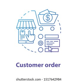 Customer order blue concept icon. Online shopping application idea thin line illustration. Choose product in internet store. Digital marketing, merchandise. Vector isolated outline drawing