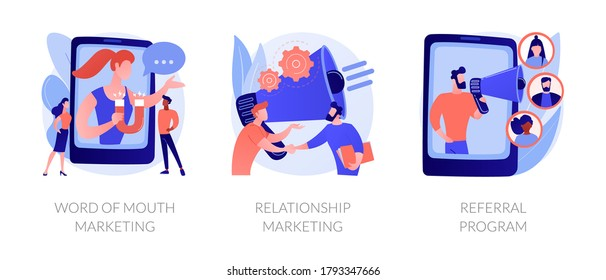 Customer oriented marketing strategy abstract concept vector illustration set. Word of mouth, relationship marketing, referral program, recommendation, brand loyalty, social media abstract metaphor.