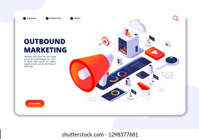 Customer outbound marketing. Online permission marketing, social media crm and business interruption vector landing page