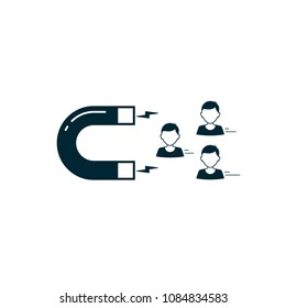 Customer people attracting with magnet icon flat design. Vector icon illustration.
