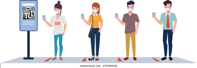 Customer people maintain social distancing check in at supermarket department store. Department store in new normal lifestyle. New normal lifestyle concept.