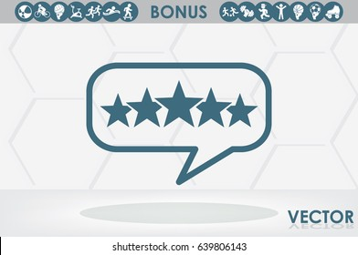 Customer product rating bubble. 5 star icon vector illustration eps10. Isolated badge for website or app - stock infographics