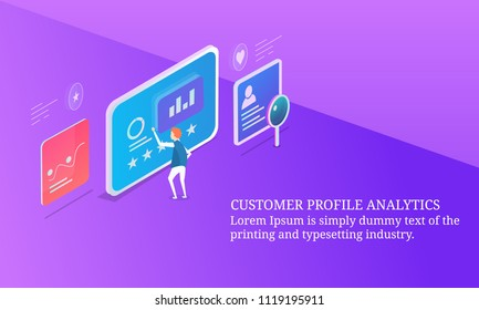 Customer profile analysis, target marketing segmentation - 3D style isometric design conceptual banner