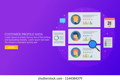 Customer profile creation, customer database management, business records flat design vector concept on blue backgorund