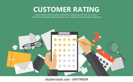 Customer rating banner. Desk with equipment. Document with stars. Flat vector illustration