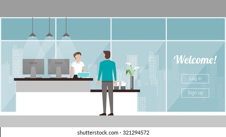 Customer at the reception, a female receptionist is welcoming and registering him, windows and city skyline on background
