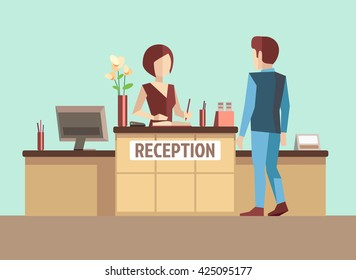 Customer at reception. Reception service hotel desk business office concept in flat style. Vector illustration