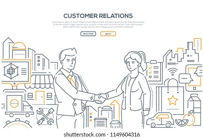 Customer relations - line design style illustration on white background. High quality banner with a businessman shaking hands with a woman. Useful enterprise, small business helping people concept