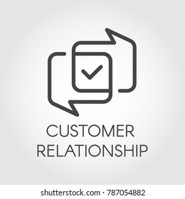 Customer relationship graphic icon. Overlapping dialog bubbles and positive concept tick sign. Satisfaction from cooperation business label. Interface logo for mobile apps, sites, instant messengers