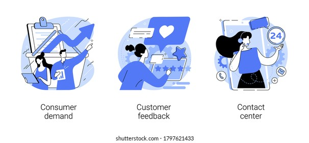 Customer relationship management abstract concept vector illustration set. Consumer demand, customer feedback, contact center, retail marketing, user support, market research abstract metaphor.