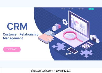 Customer relationship management concept. CRM isometric vector illustration