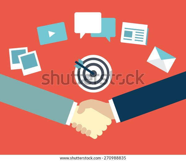 Customer Relationship Management. Content marketing as mean of  interaction between provider and customer - vector illustration