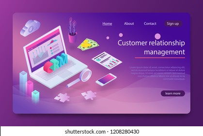 Customer relationship management CRM concept. Customer relationship management concept background. CRM concept design with vector elements. Outbound marketing vector business in isometric design.