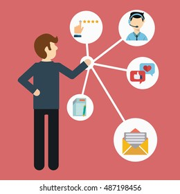Customer Relationship Management. System for managing interactions with current and future customers - vector illustration.