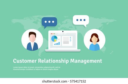 Customer Relationship Management. Vector flat banner. Concept of the organization of data on work with clients. CRM and accounting system.