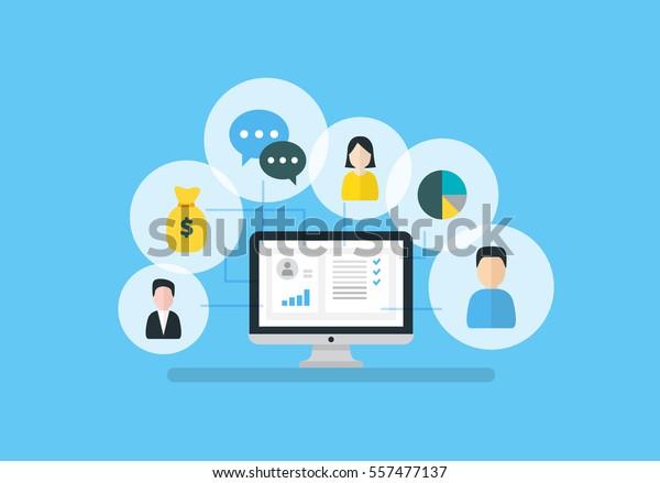 Ilustración vectorial de Gestión de Relaciones con el Cliente. Iconos planos de sistema contable, clientes, soporte, operación. Organización de datos sobre el trabajo con clientes, concepto CRM.