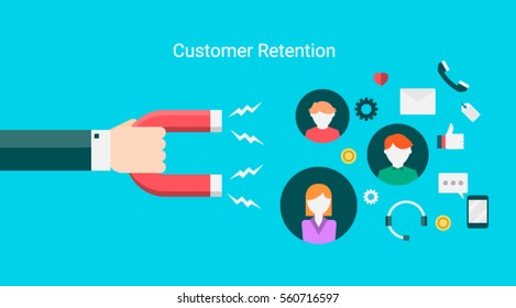 Customer retention, attract customers, customer support and service flat vector banner with icons