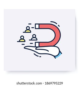 Customer retention color icon. Clients attraction. Marketing. Advertising campaign. Way of attracting customers. Isolated vector business illustration