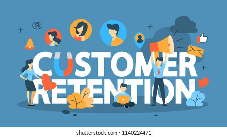 Customer retention concept. Attract clients and build relationships. Business strategy. Isolated flat vector illustration