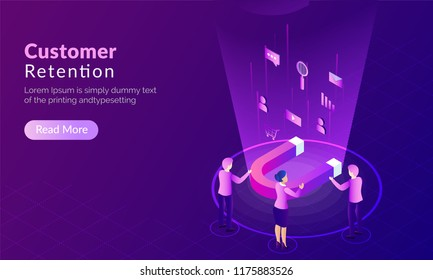 Customer Retention concept, magnet attract potential buyers, shopper advertise their product with multiple ways on purple background.