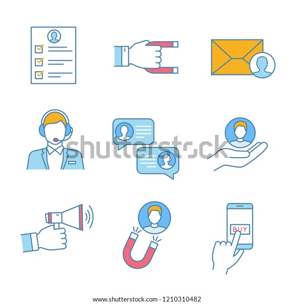 Customer Retention Loyalty Color Icons Set Stock Vector Royalty Free 1210310482